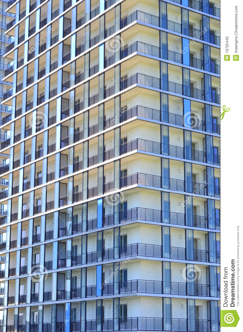 Residential building facade with balconies royalty free Building facade pictures