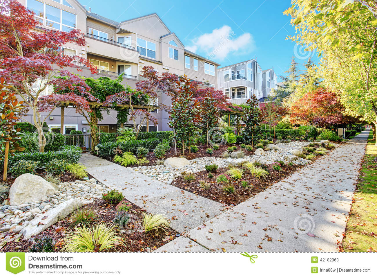 Residential building and landscape design stock photo for Landscape design build