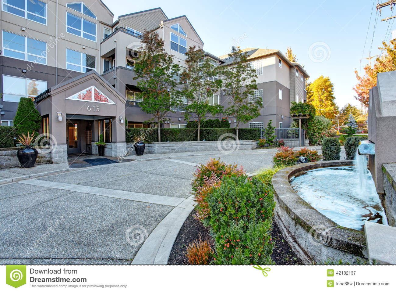 Residential building and landscape design stock photo for Design and landscape