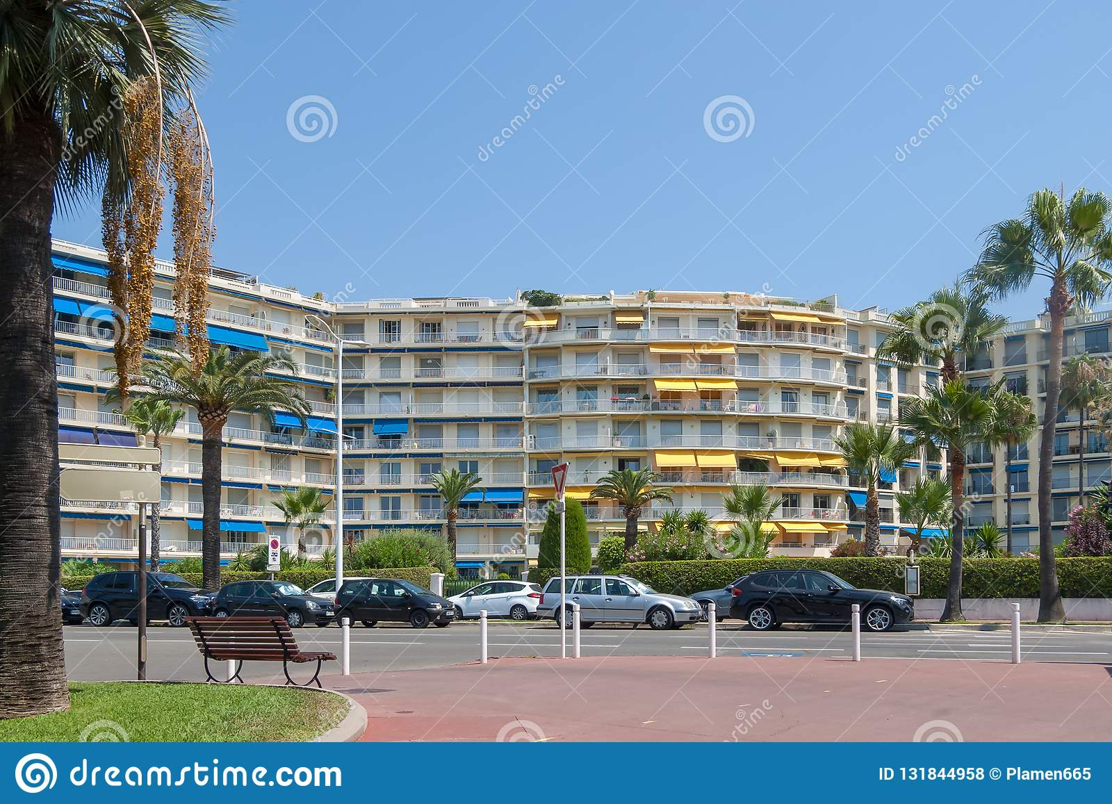 Residential building with palm trees, Cannes ,France.