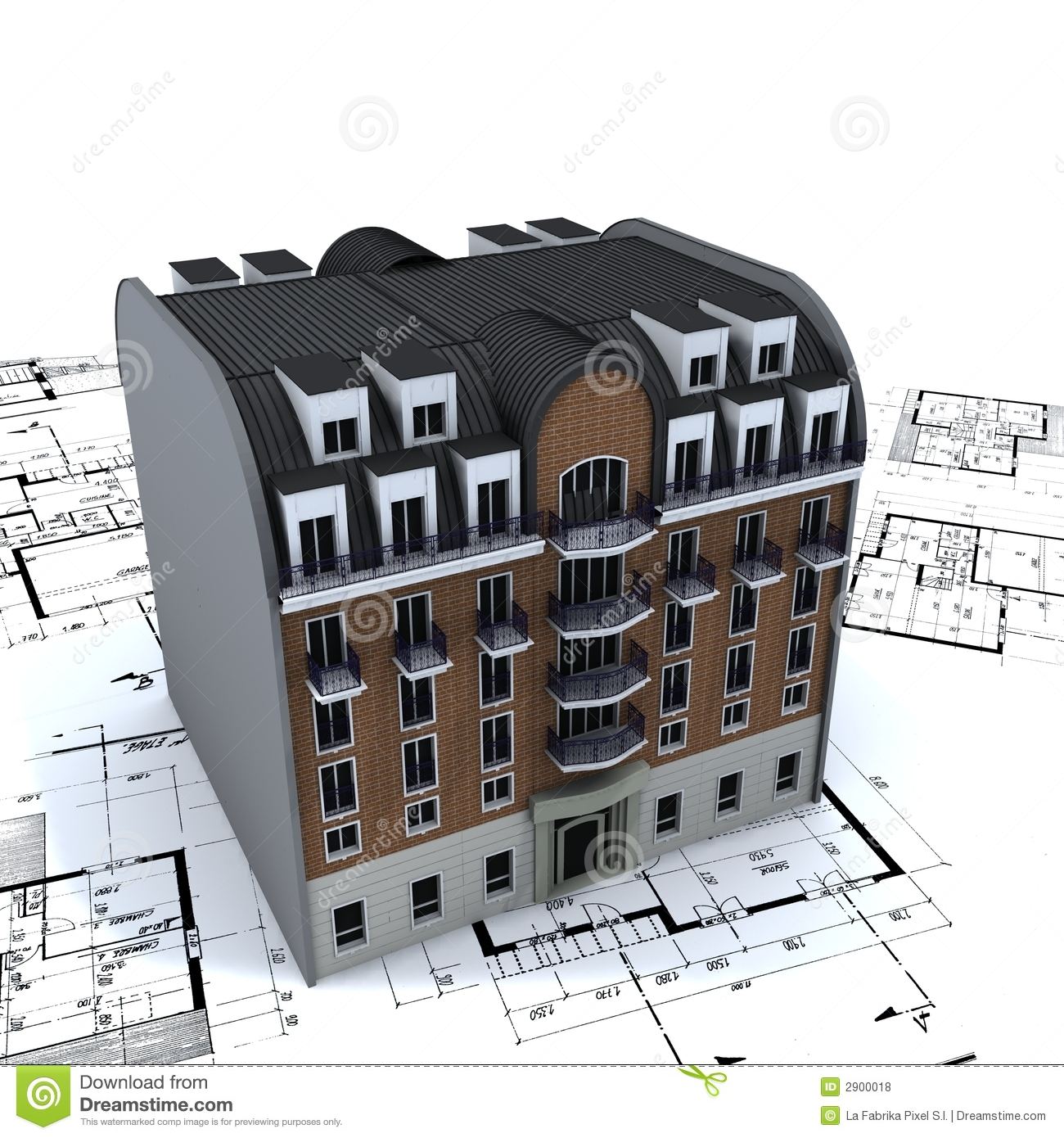 Residential building on plans royalty free stock photos for Building design plan