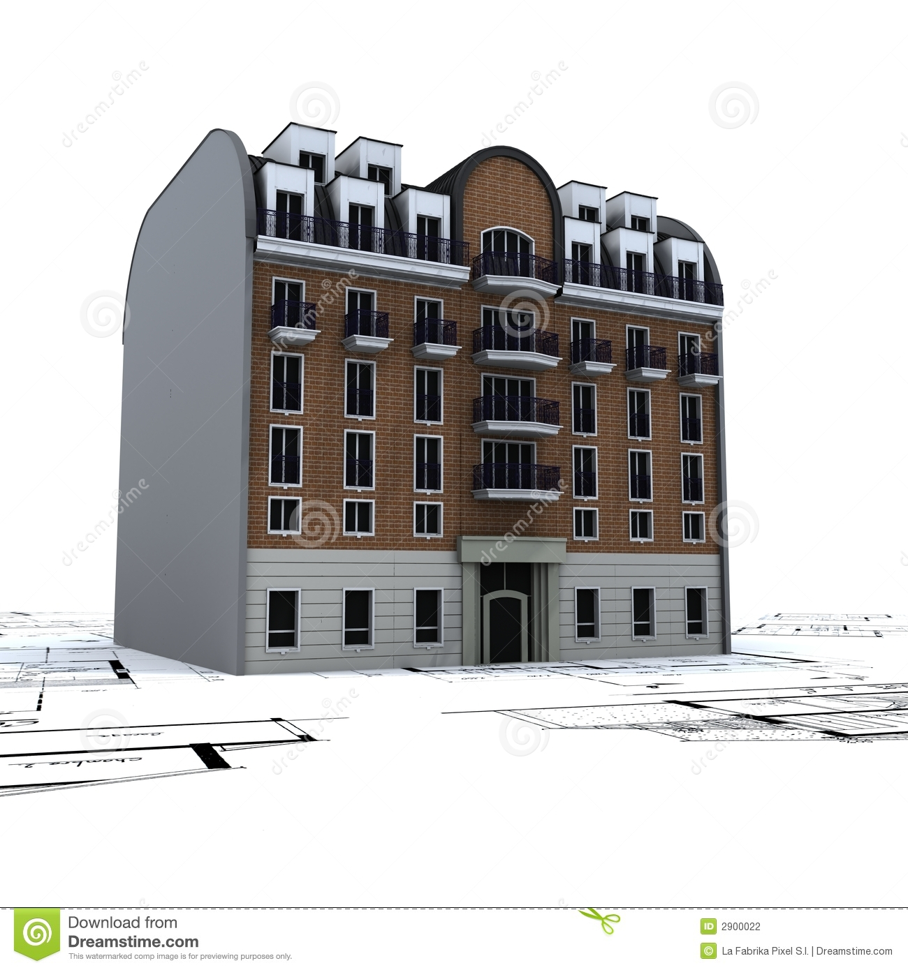 Residential building on plans stock photography image for Residential building design plans