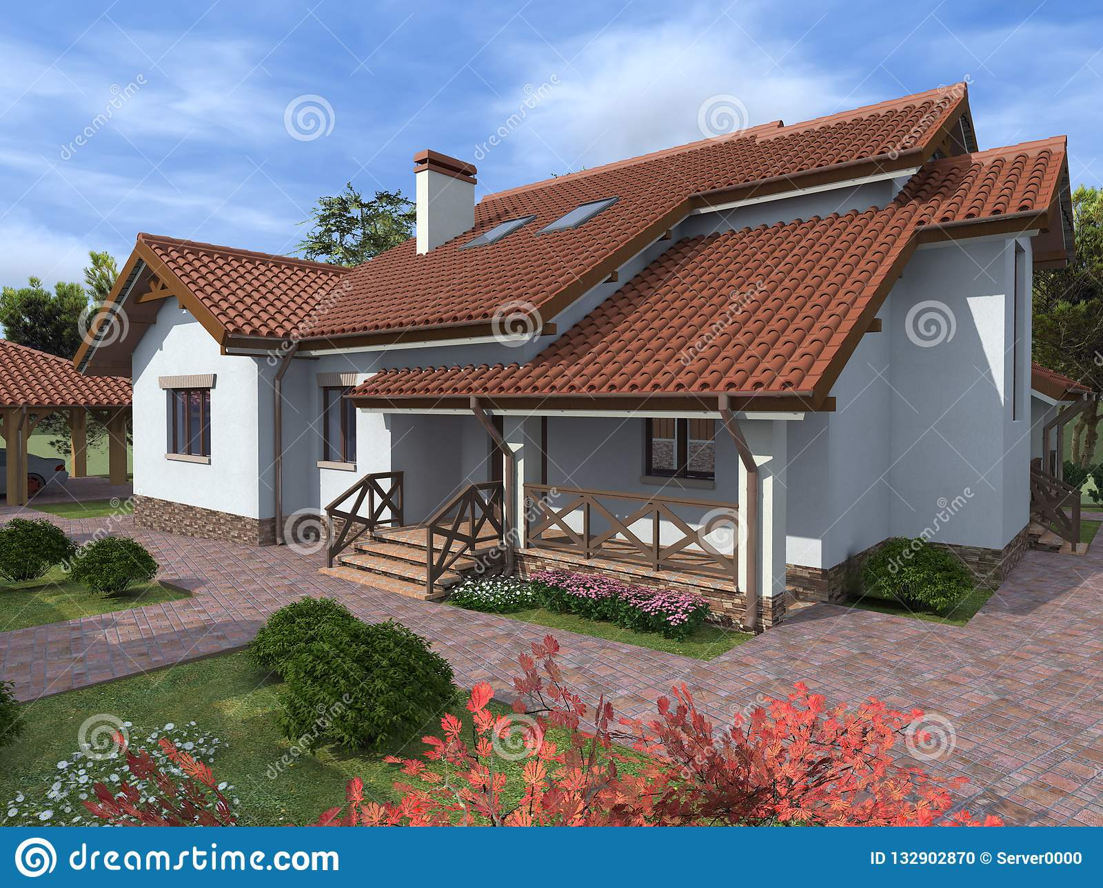 Private House Cottage Tile Roof Stock Photo Image Of Large Project 132902870