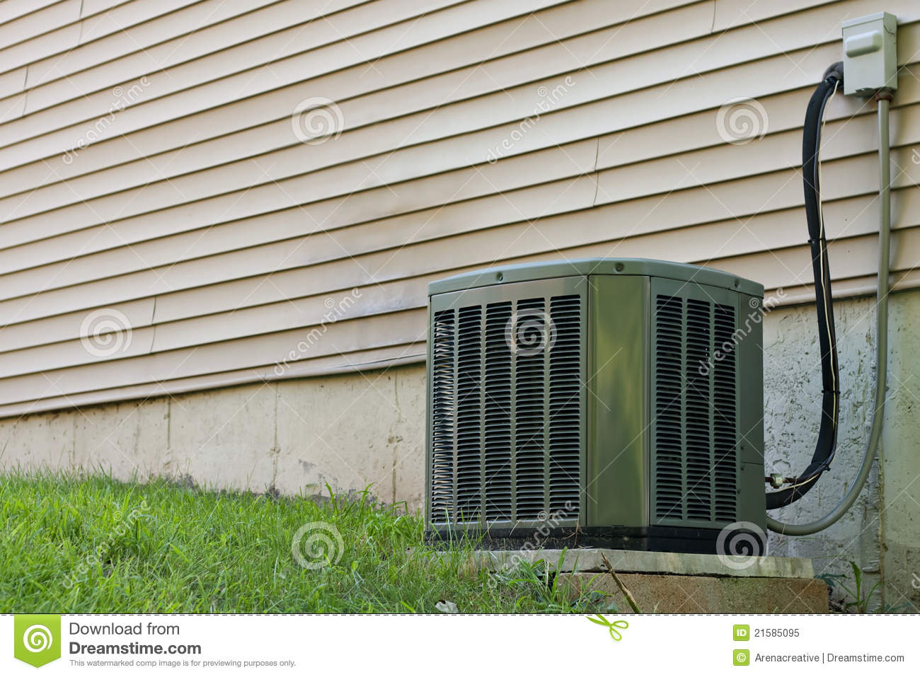 Residential Central Air Conditioner Unit Royalty Free Stock Photo  #5C4F2F