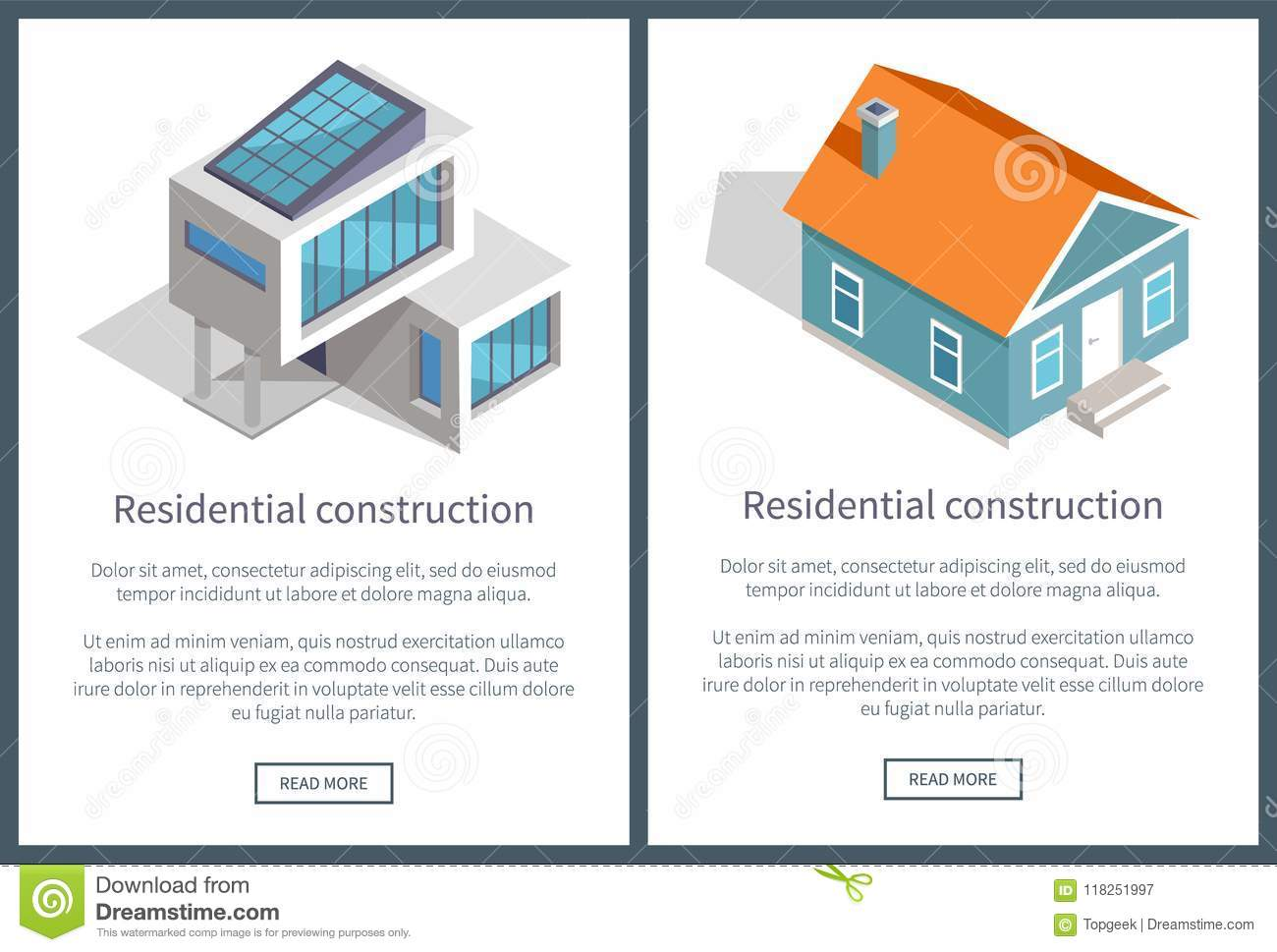 Residential Construction Text Vector Illustration Stock