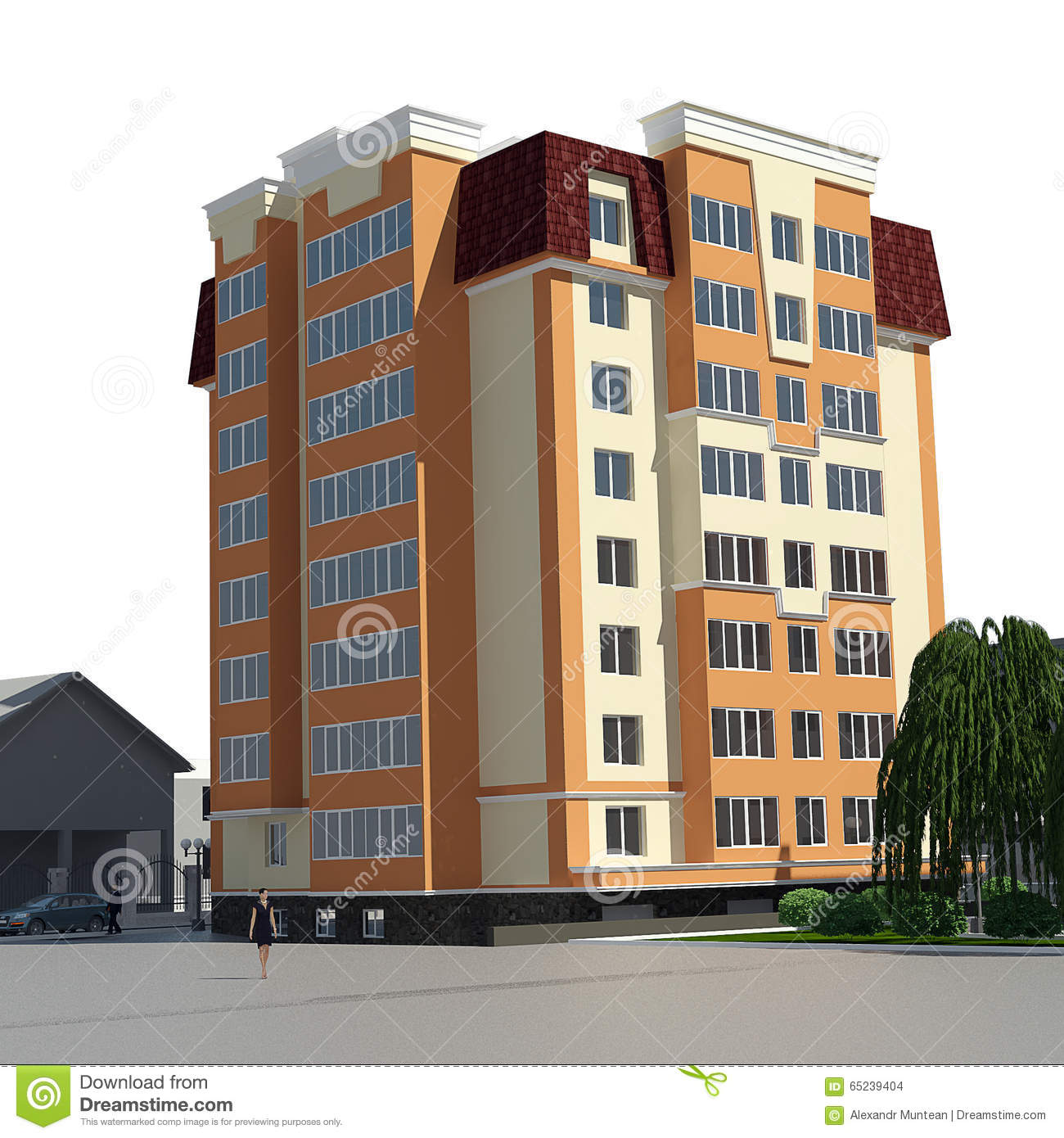 Residential 3d view stock illustration  Illustration of