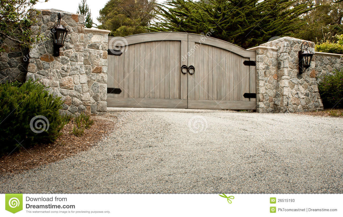 Residential Driveway Gate Stock Image Image Of Wall