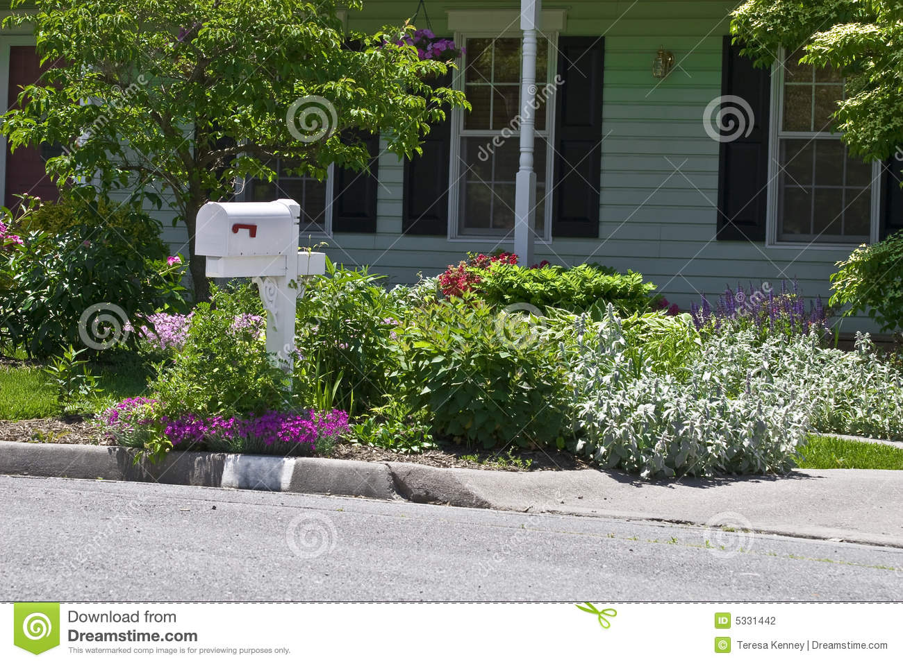 Residential Flower Garden Stock Photo Image Of Landscaping