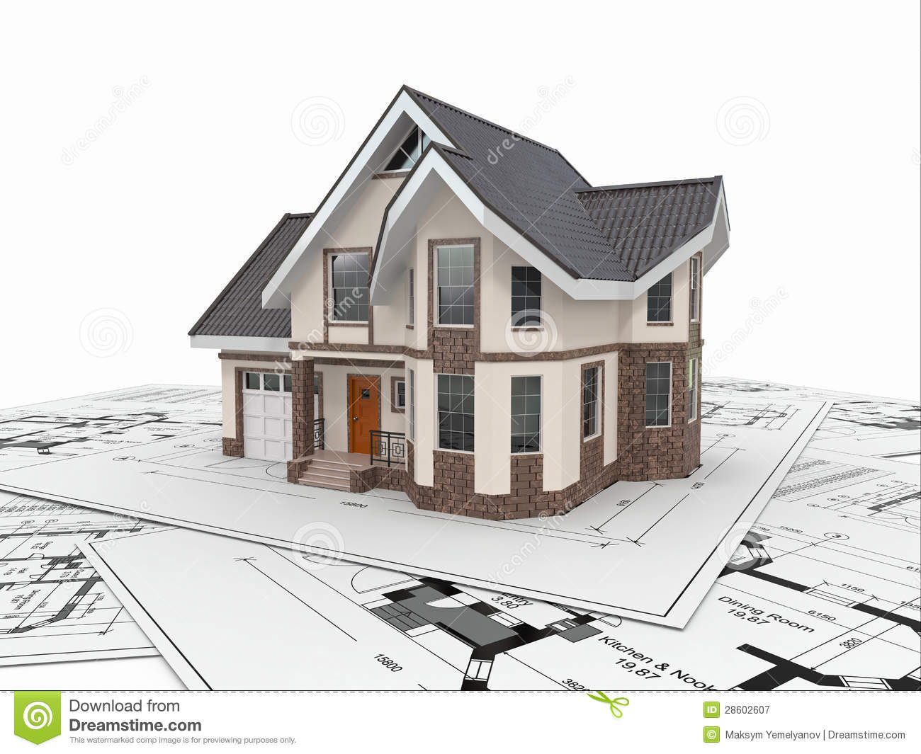 Residential house on architect blueprints housing project for Home designer architectural