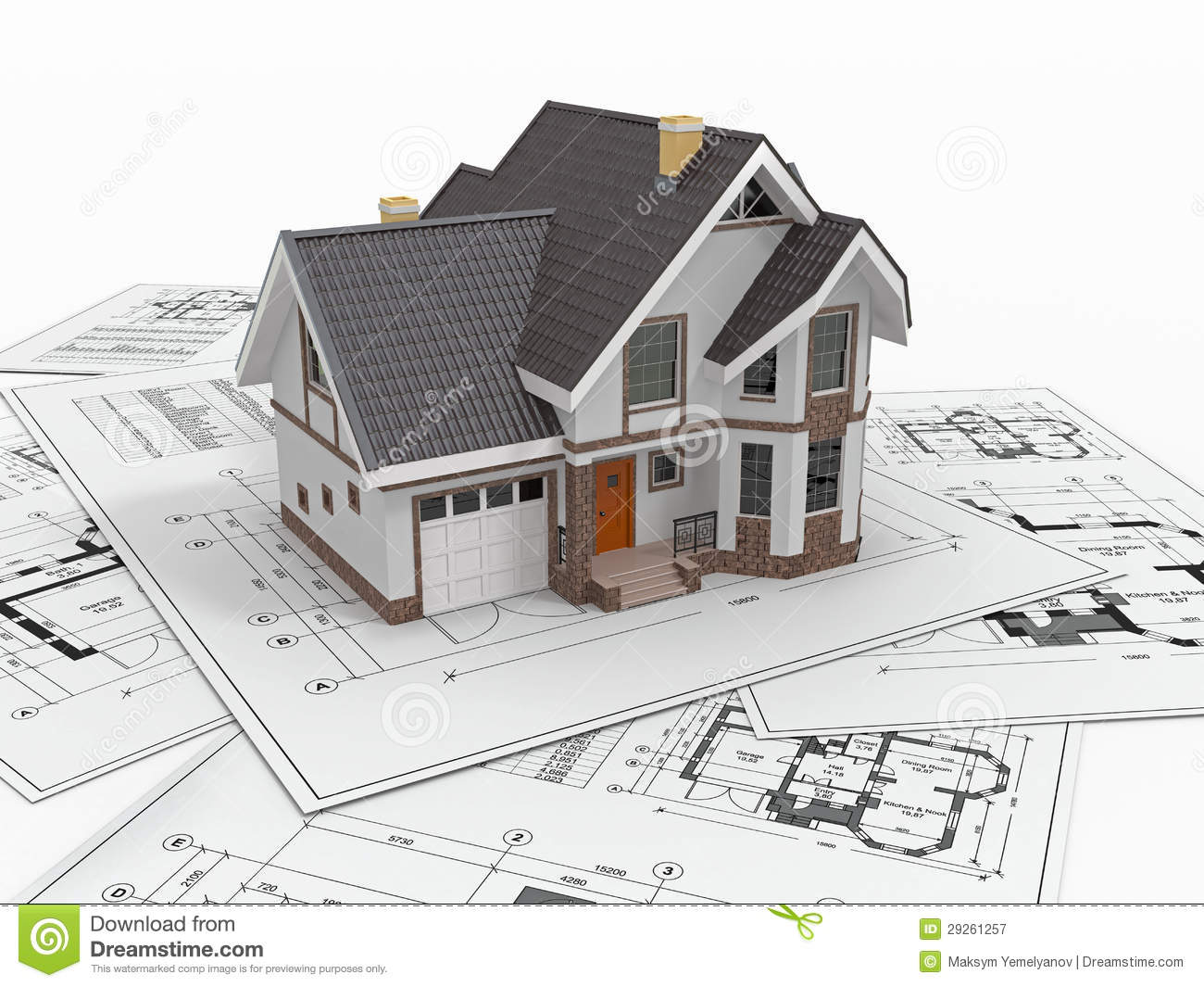 Residential house on architect blueprints housing project for Construction architect