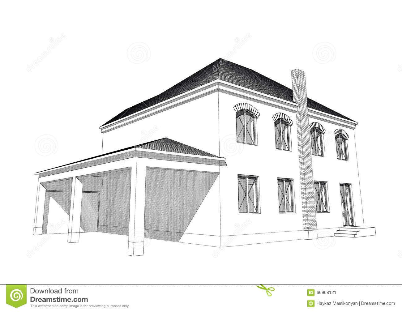 Residential house 3d stock illustration image 66908121 3d house drawing