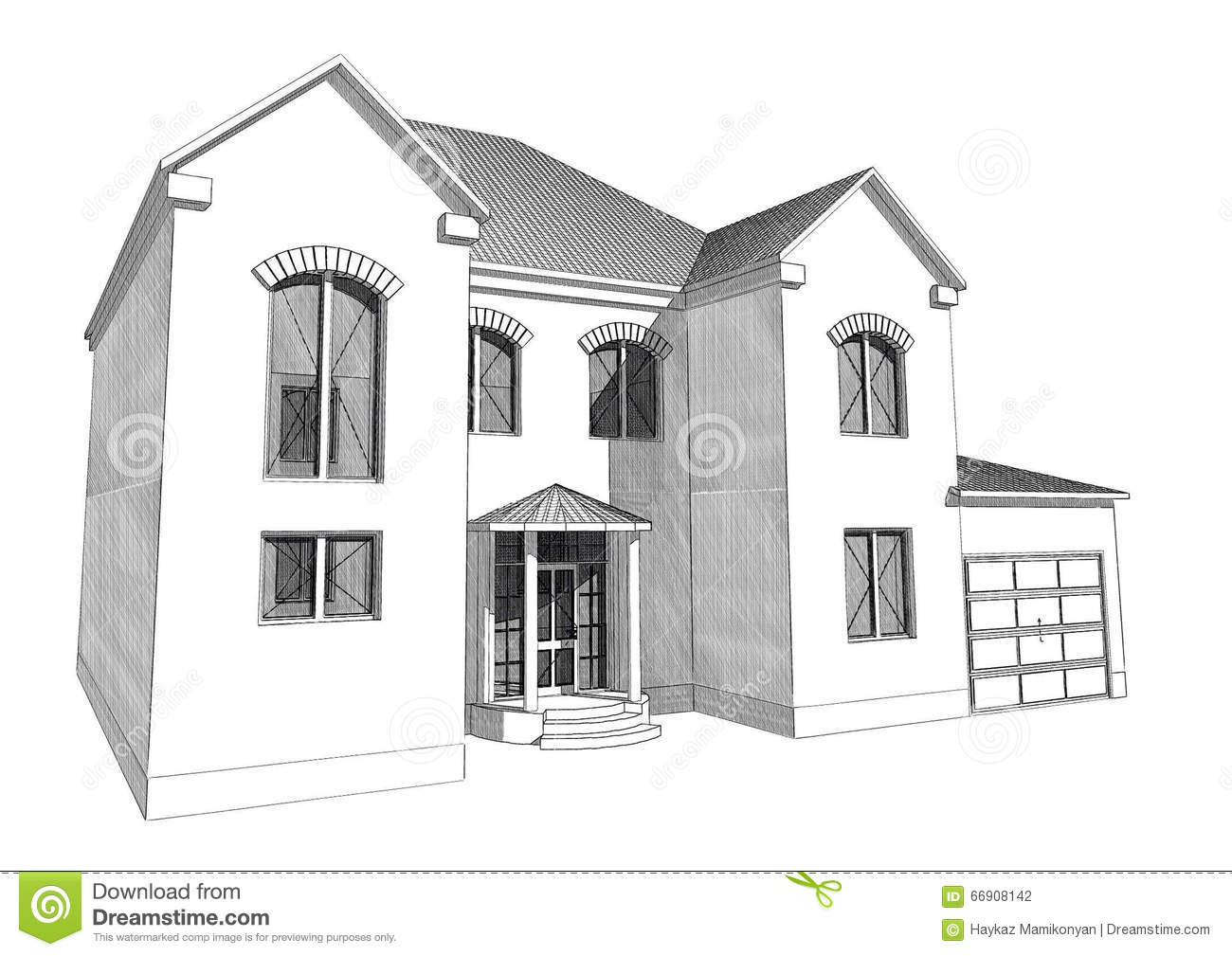 Marvelous Residential House 3D. Design, Photoshop.