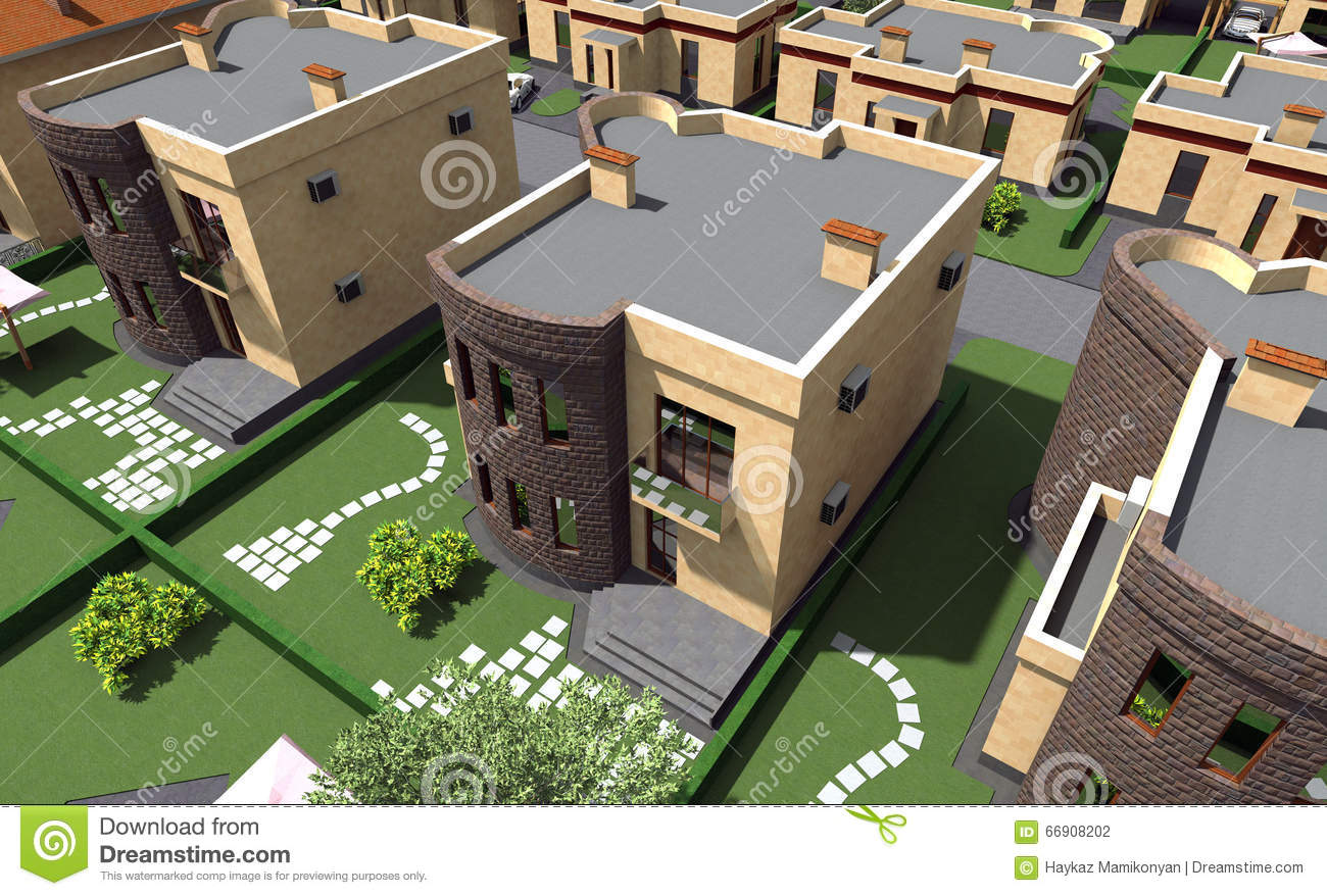 Residential House 3d Stock Illustration Image 66908202