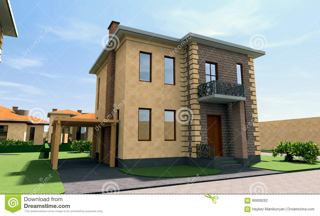 Residential house 3d stock illustration image 66908262 for Residential building drawings download