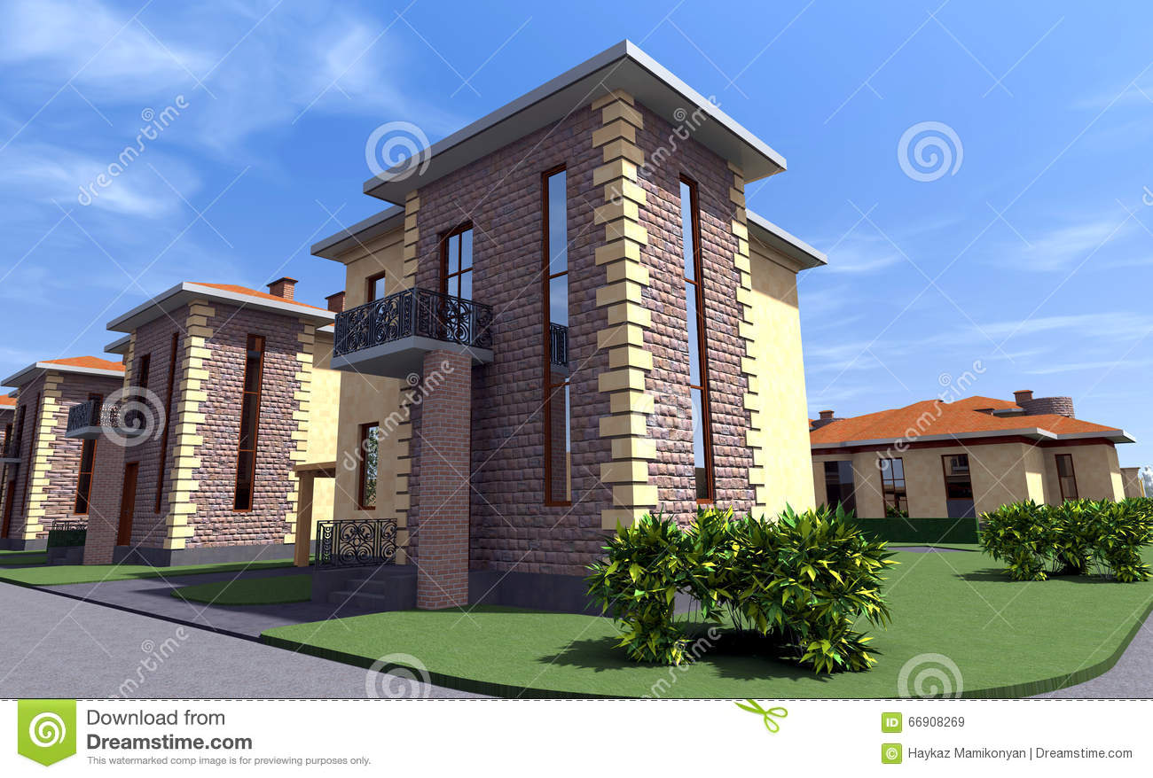 Residential House 3d Stock Illustration Image 66908269