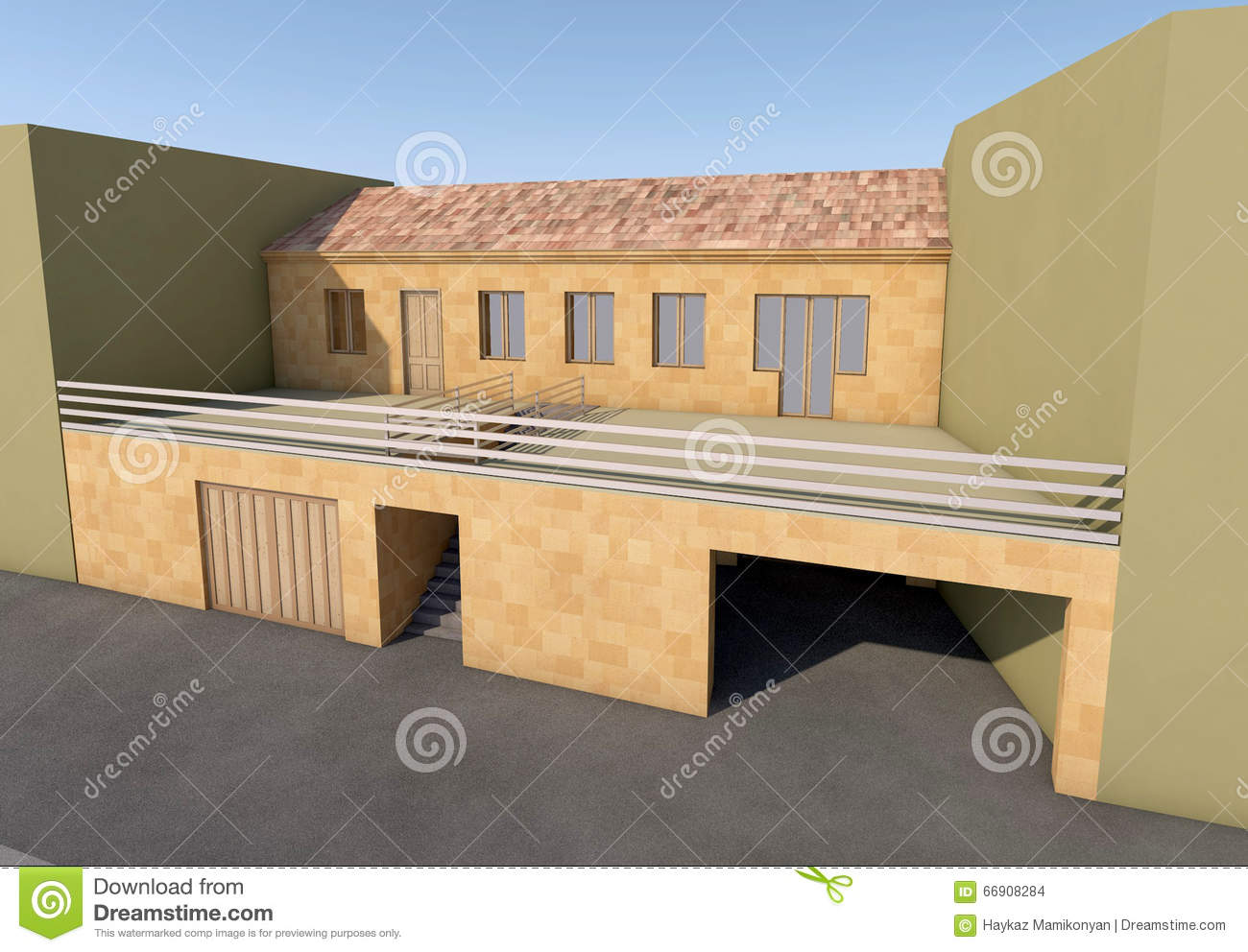 Residential house 3d stock illustration image 66908284 for Furniture drawing software