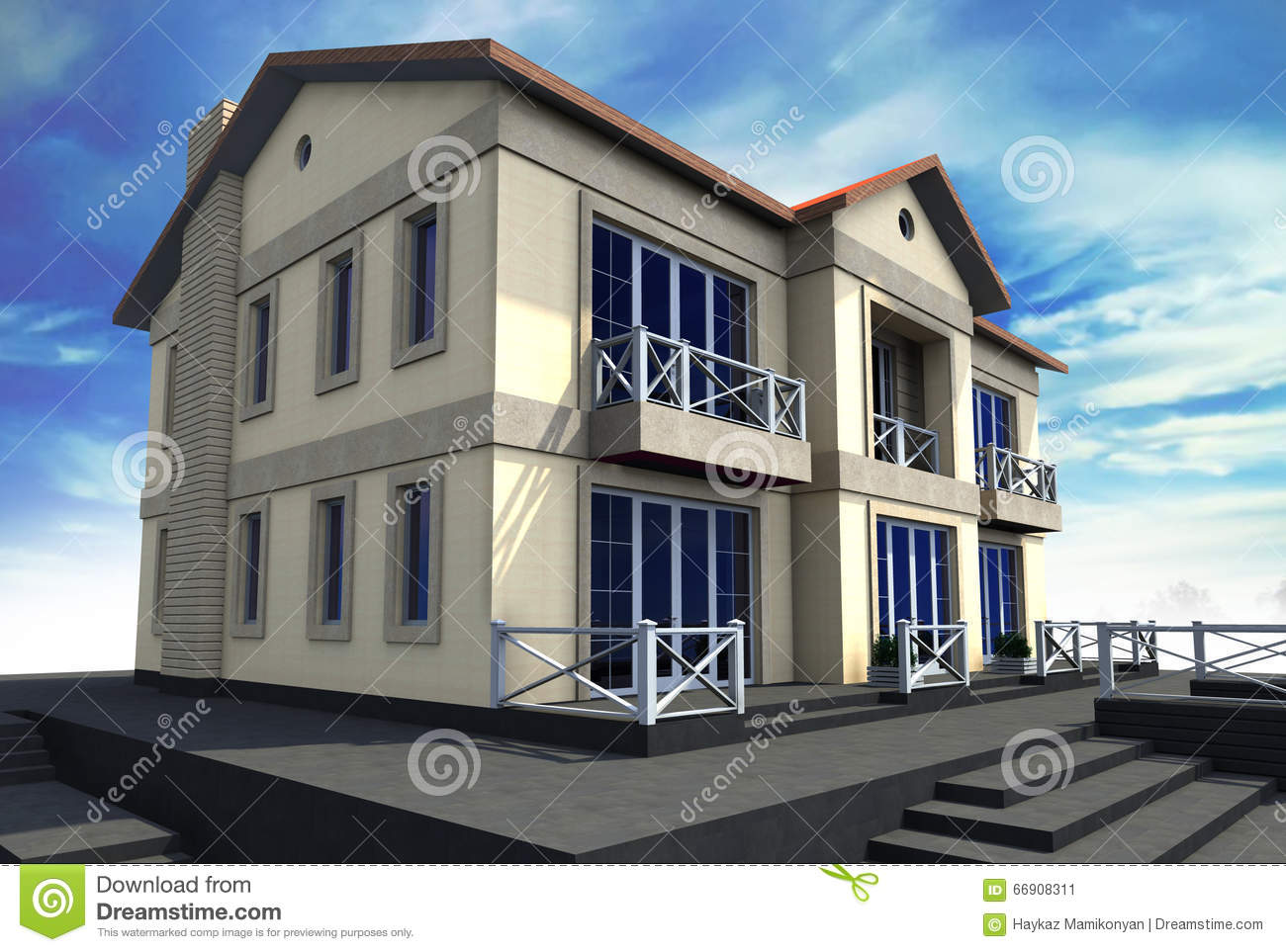 Residential house 3d stock illustration image of used for House drawing software