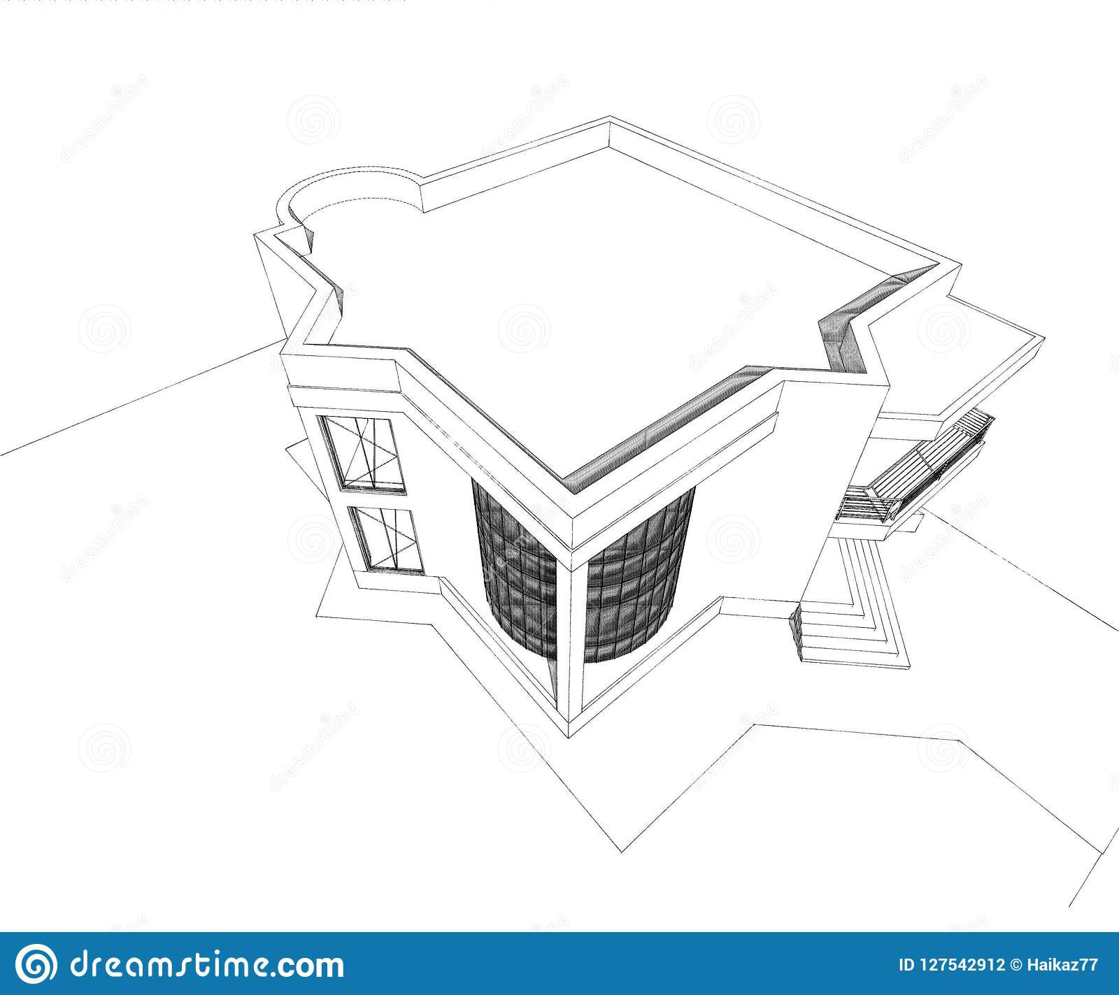 Residential House 3d Design Stock Illustration Illustration Of