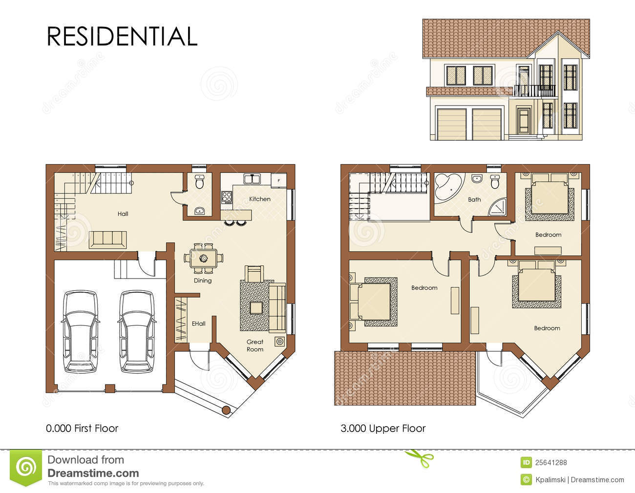 Residential House Plan Stock Illustration. Illustration Of