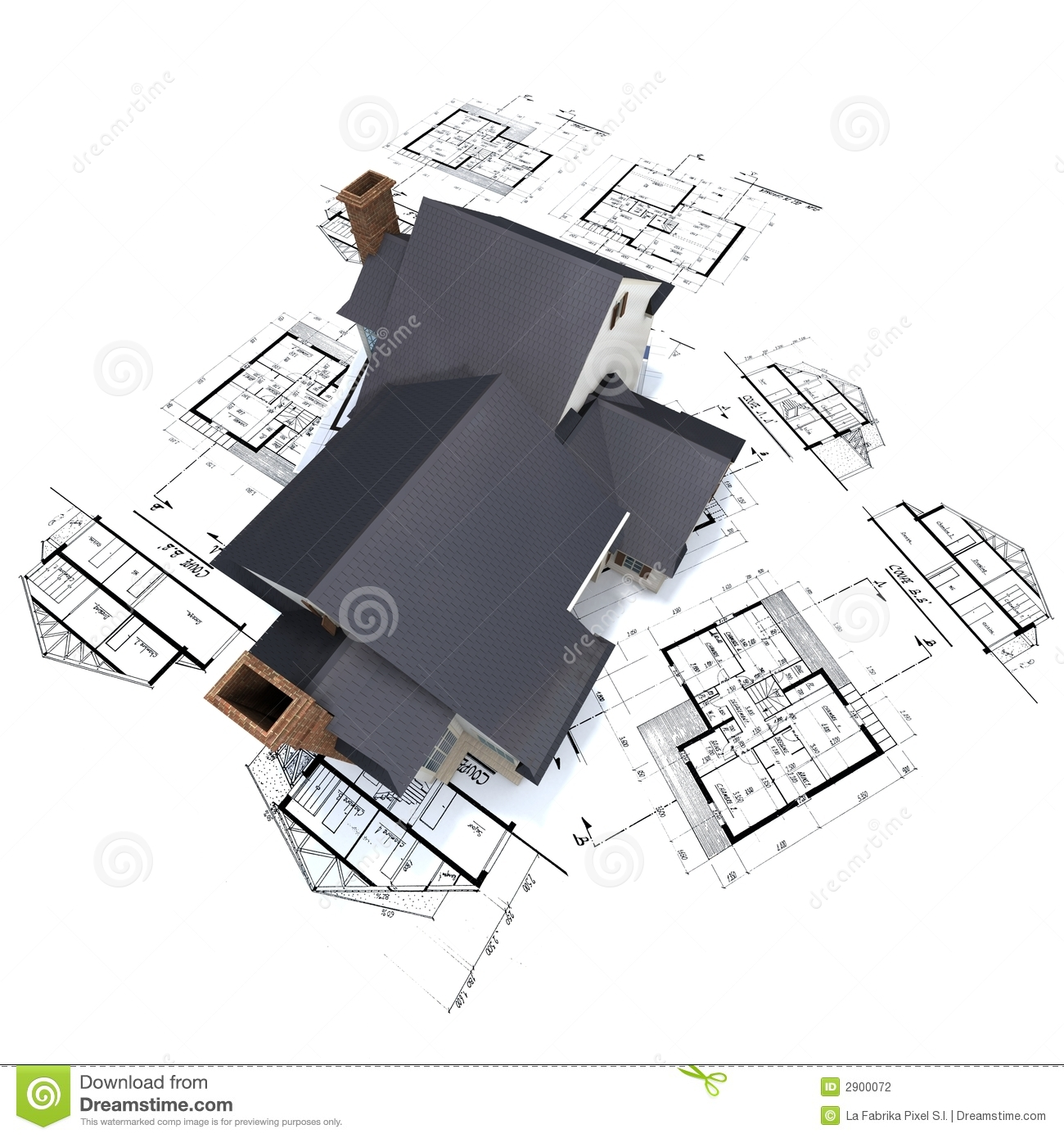 Residential house on plans 3 stock photography image for Residential blueprints