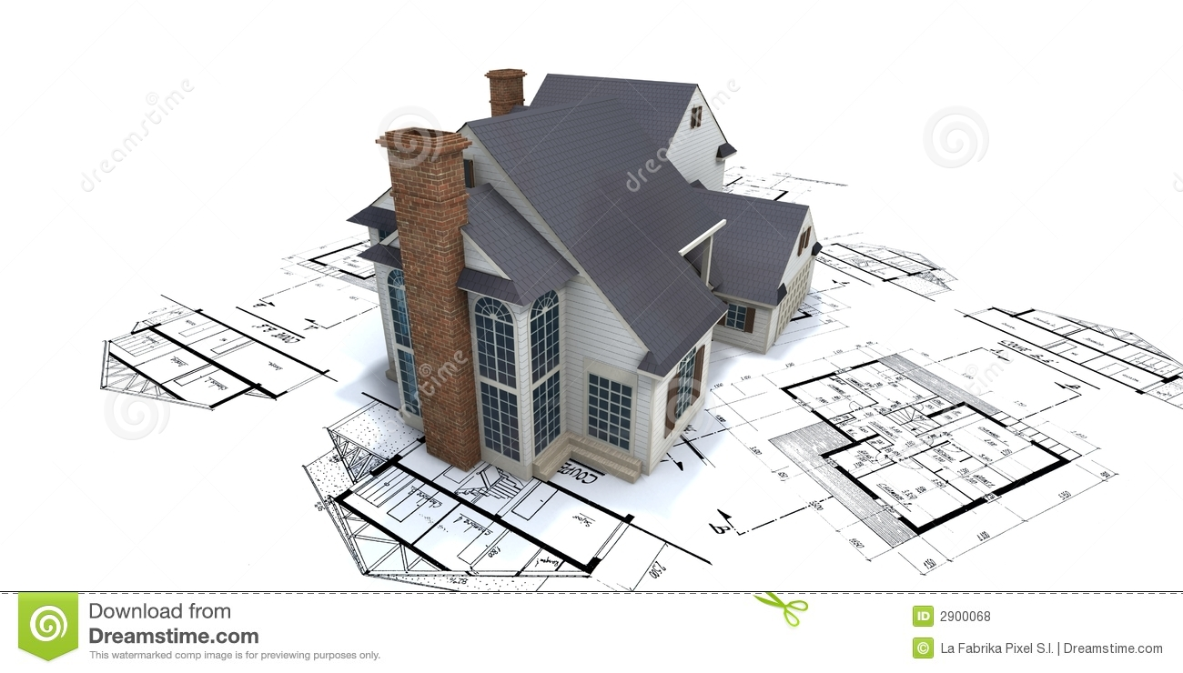 Residential house on plans2 stock illustration image for Building design images