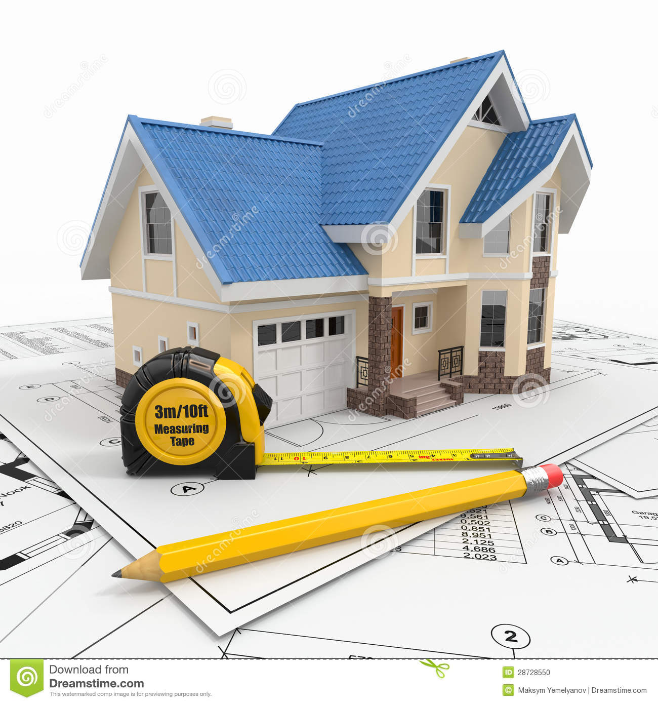 Residential House With Tools On Architect Blueprints Stock Photo