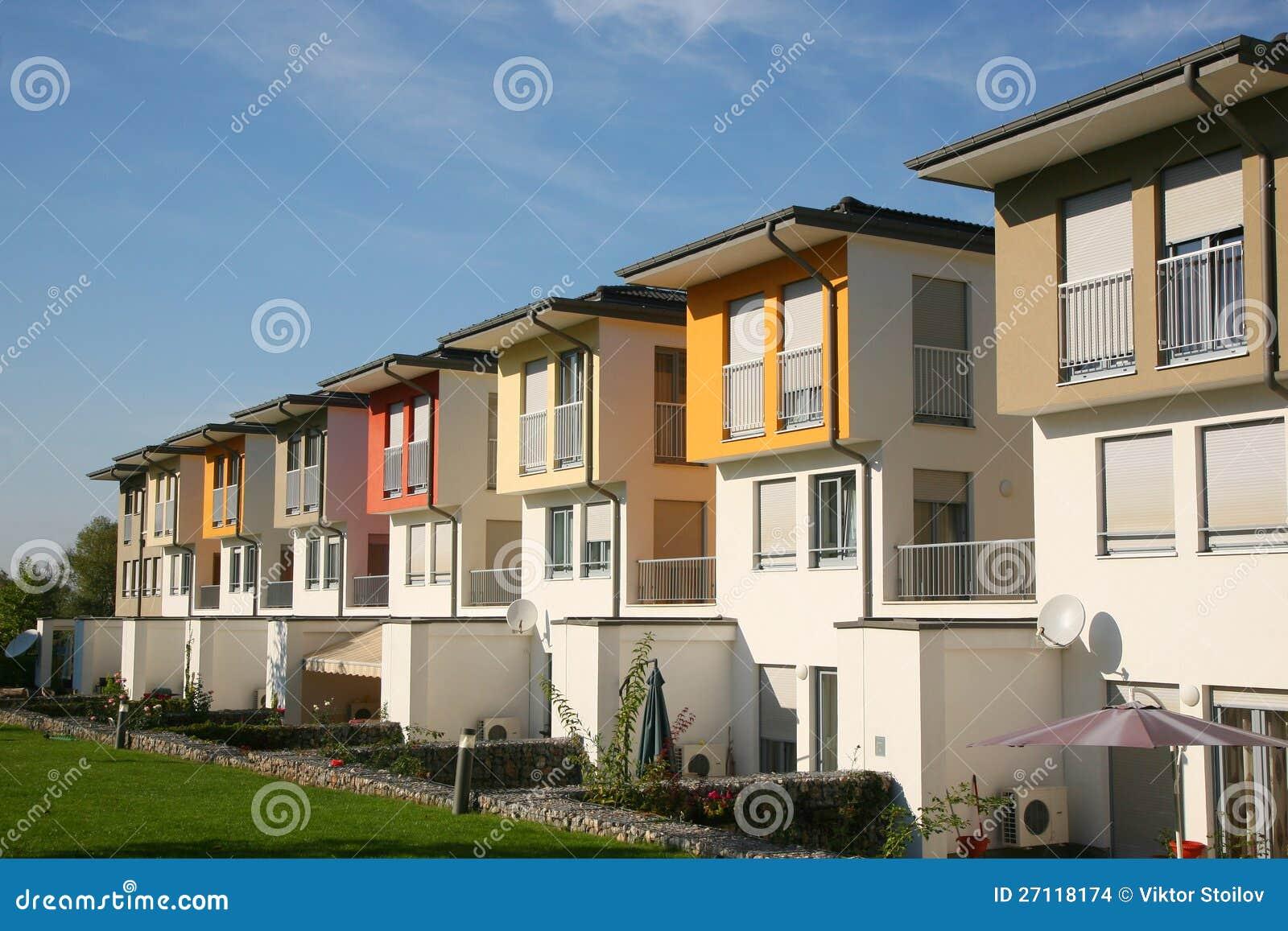 Residential houses stock photo. Image of modern, garden ...