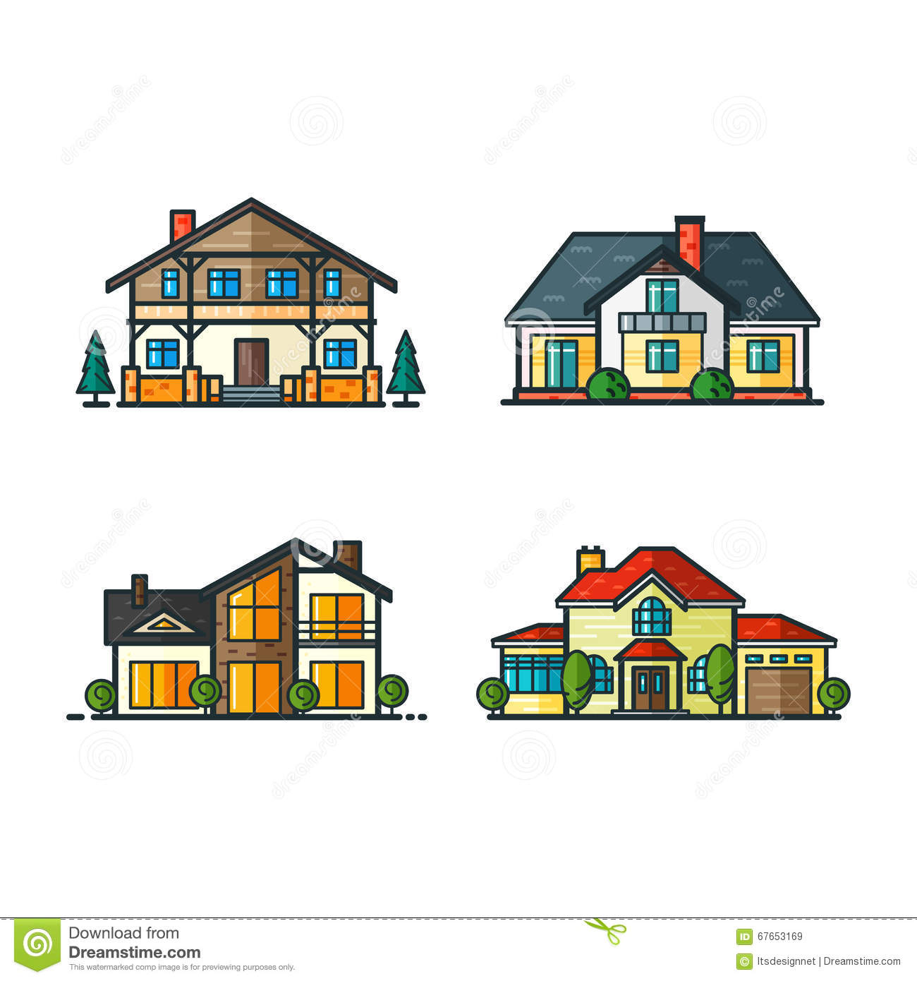 Residential houses icons stock vector image 67653169 for Tech house classics