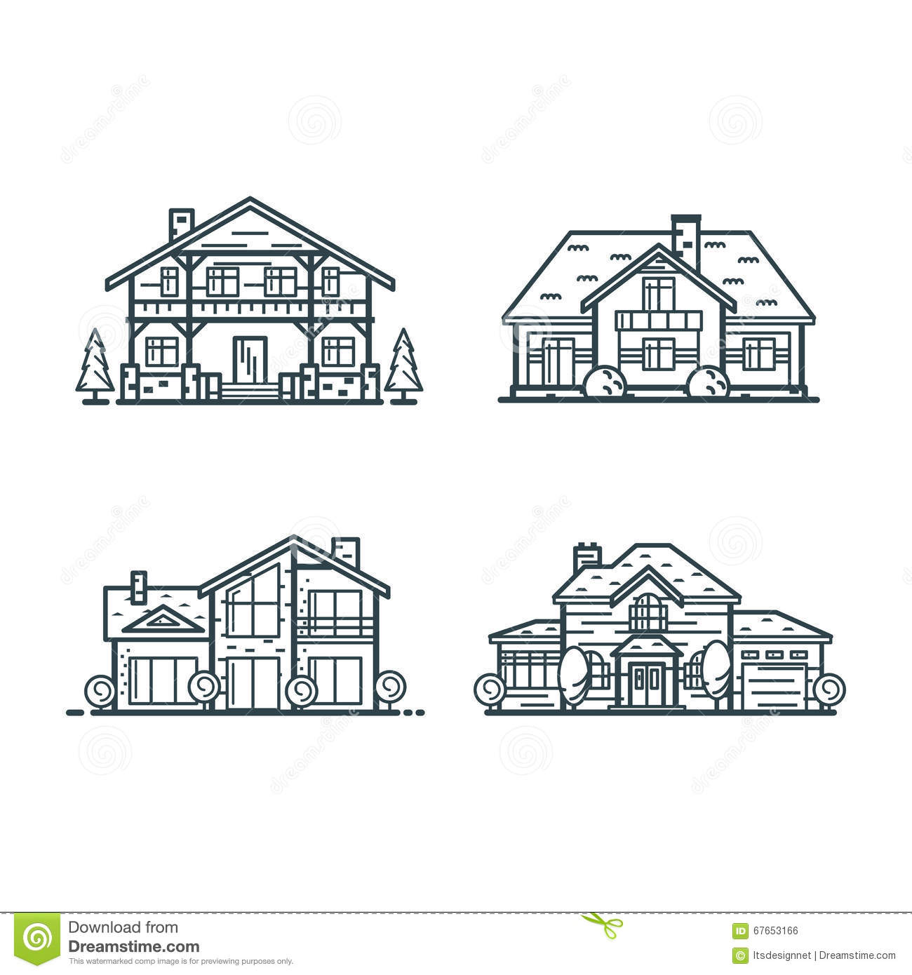 Residential houses thin line icons stock vector for Tech house classics