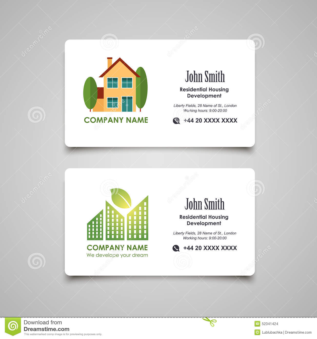 Residential Housing Developing Or Rent Business Card