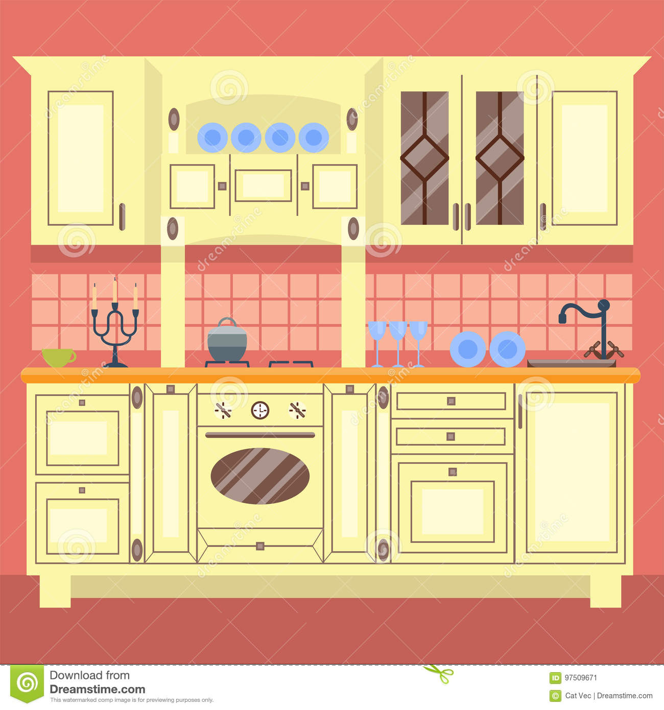 Residential interior of modern kitchen in luxury mansion house architecture new modern furniture vector illustration