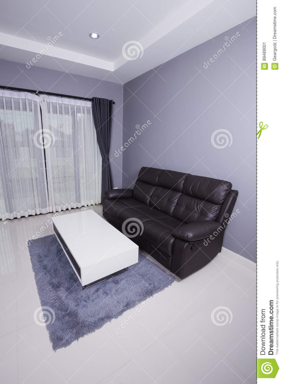 Residential interior of modern living room with sofa