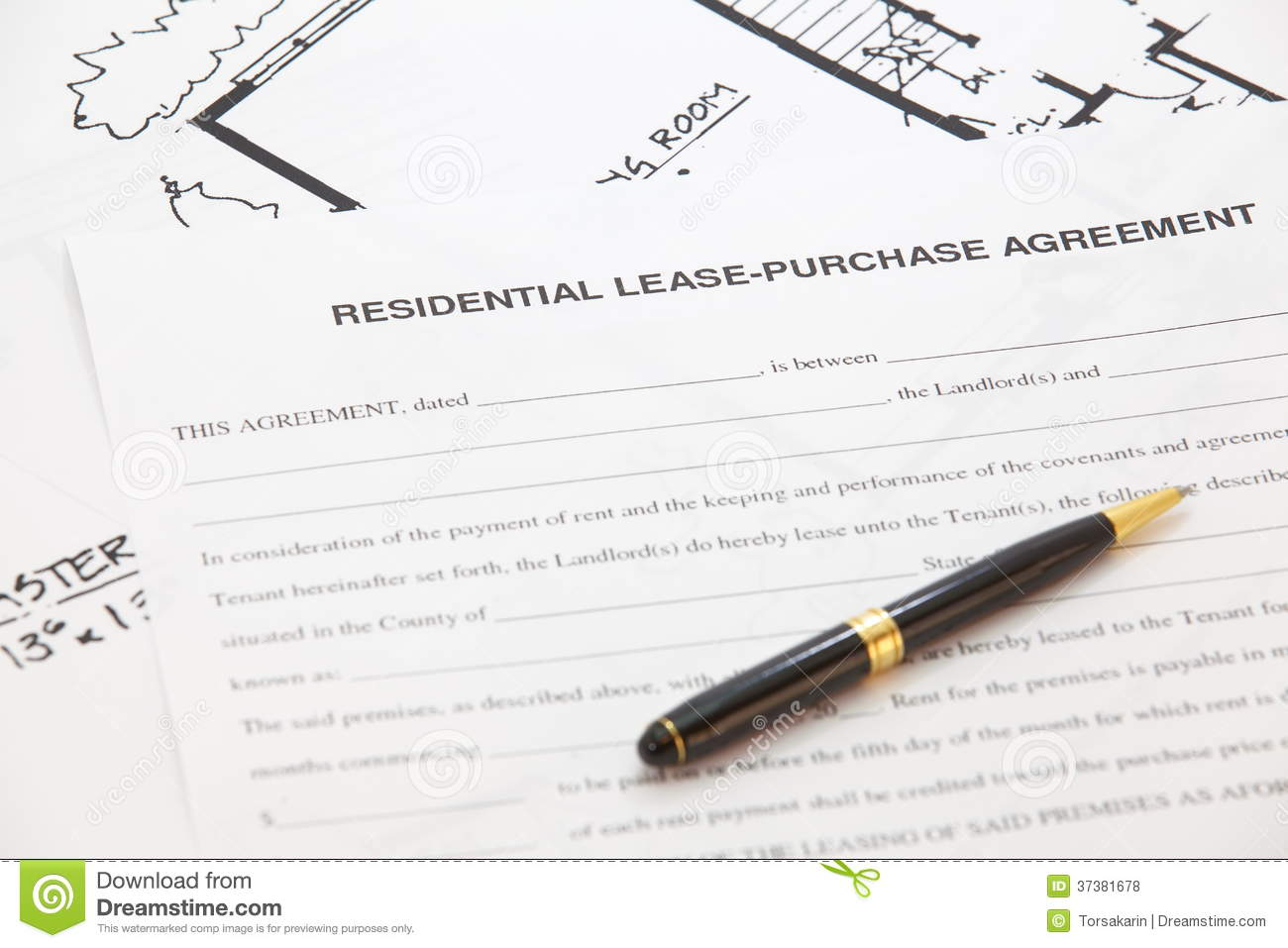 Residential Lease Purchase Agreement Stock Photo Image Of