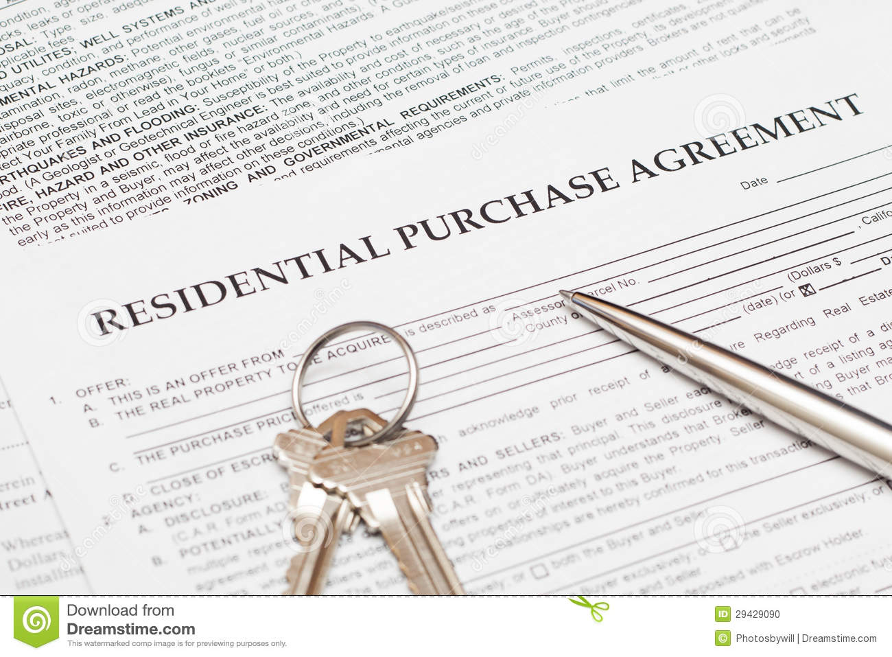 Residential Purchase Agreement Stock Photo Image Of Finances