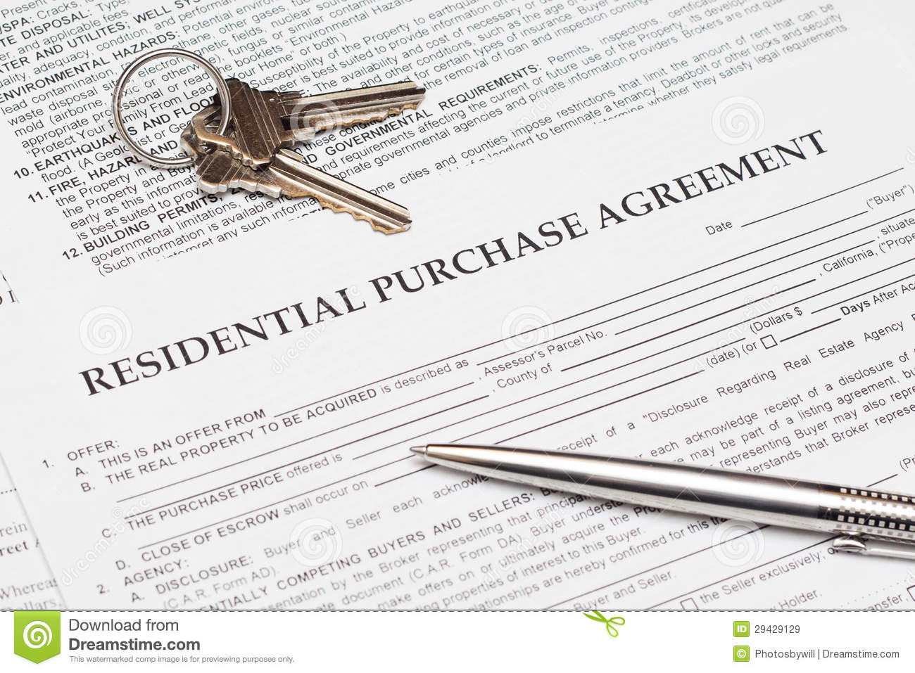 Residential Purchase Agreement Stock Image Image Of Finances Real