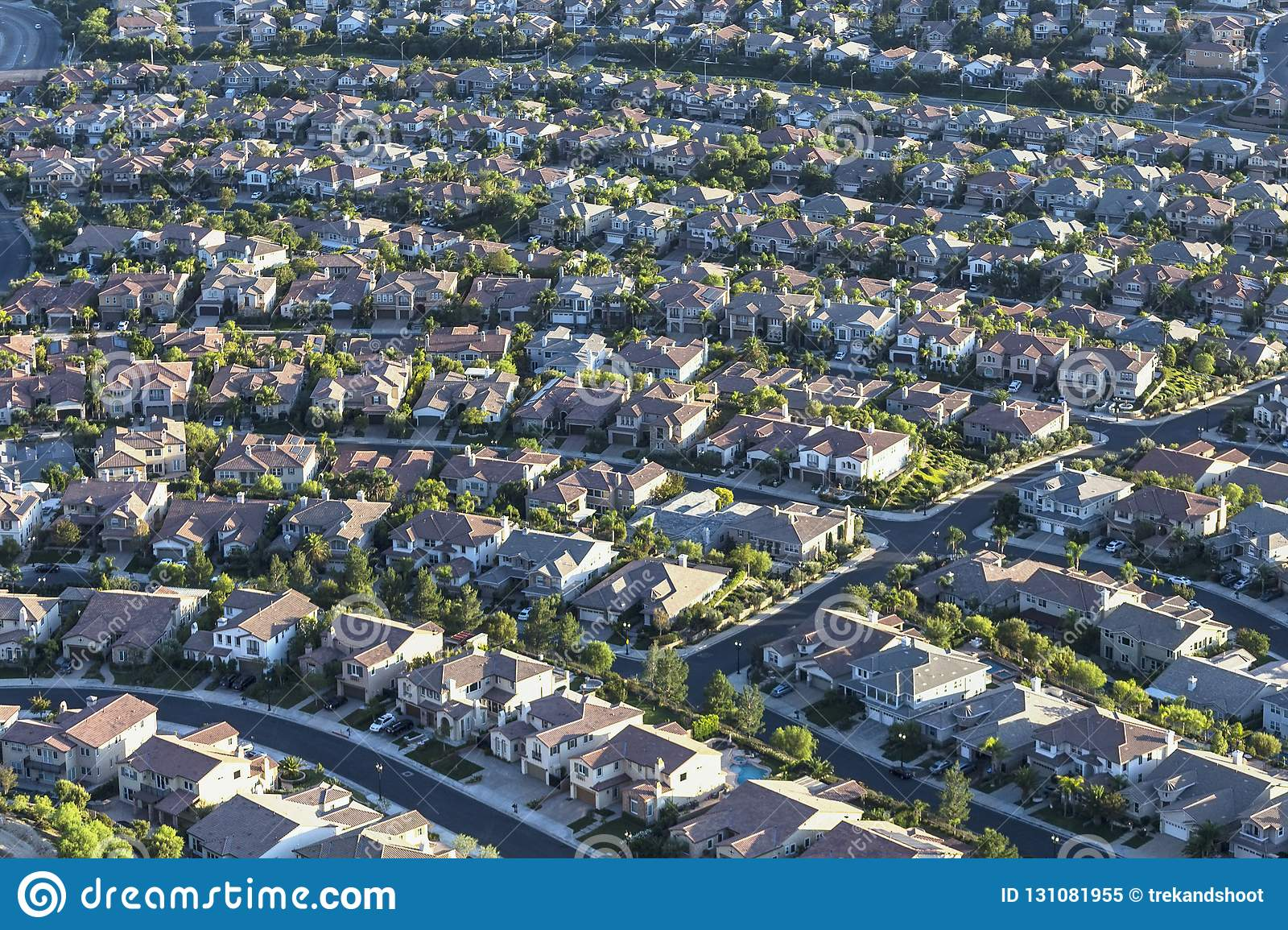 Residential Streets Aerial Los Angeles California Stock Image