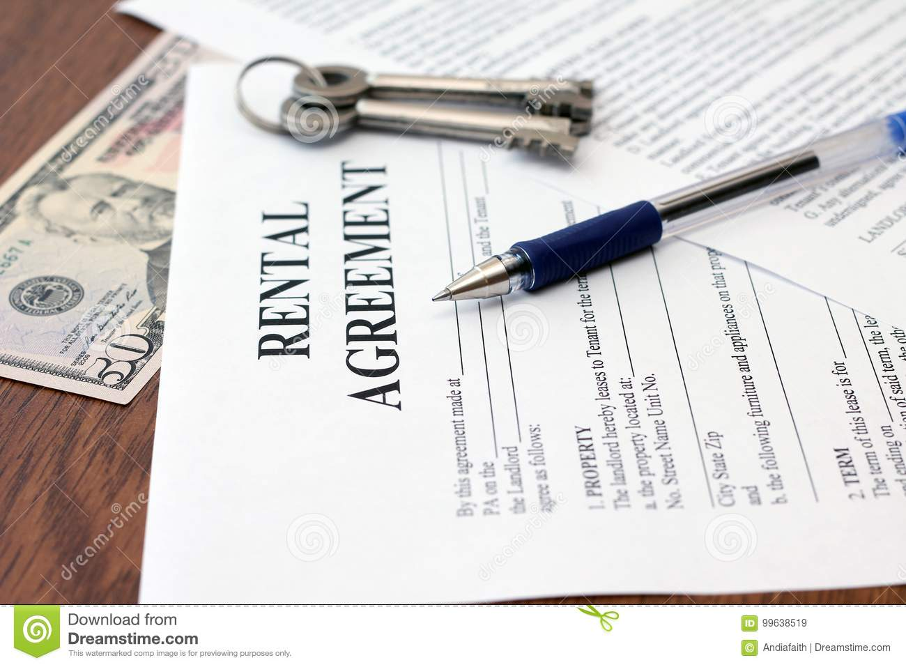 Residential Tenancy Agreement With Money And Keys Stock Image