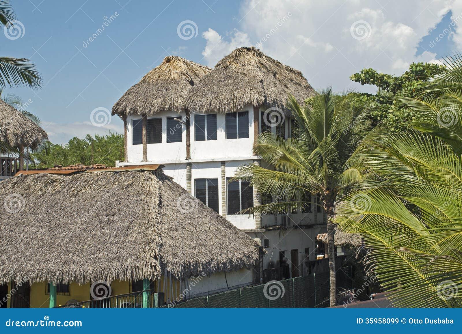 Residenza ricoperta di paglia della giungla del tetto