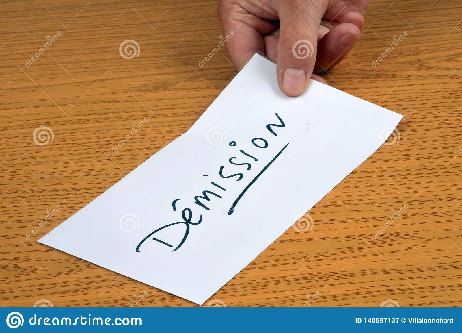 The Resignation Letter Written In French Stock Image - Image