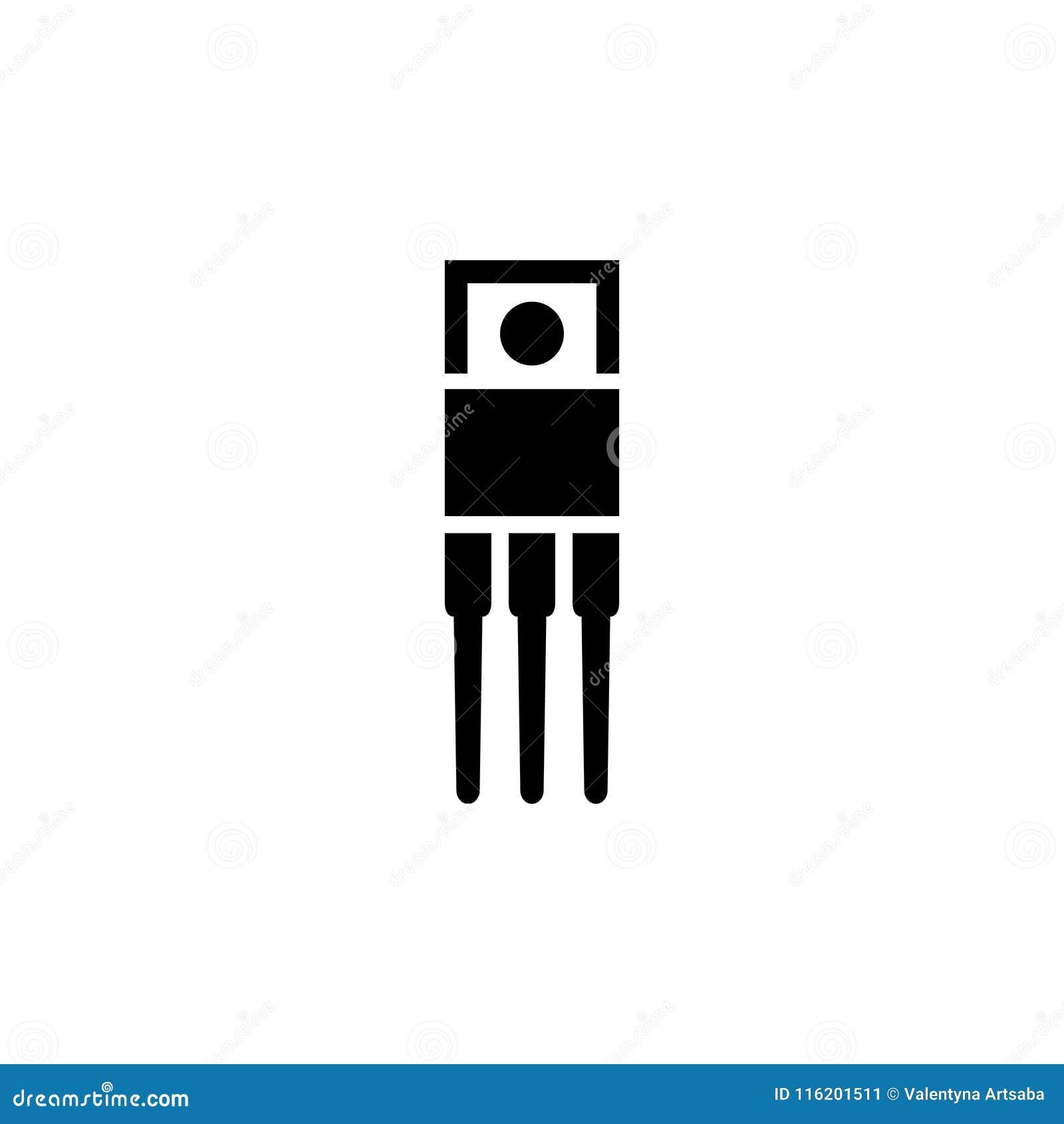 Resistor Ceramic Electrolytic Capacitors Fuse Microcontroller Simple Transistor Circuit Flat Vector Icon