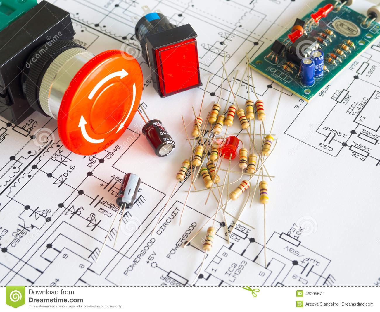 Resistor Component On Circuit Diagram Stock Image Of