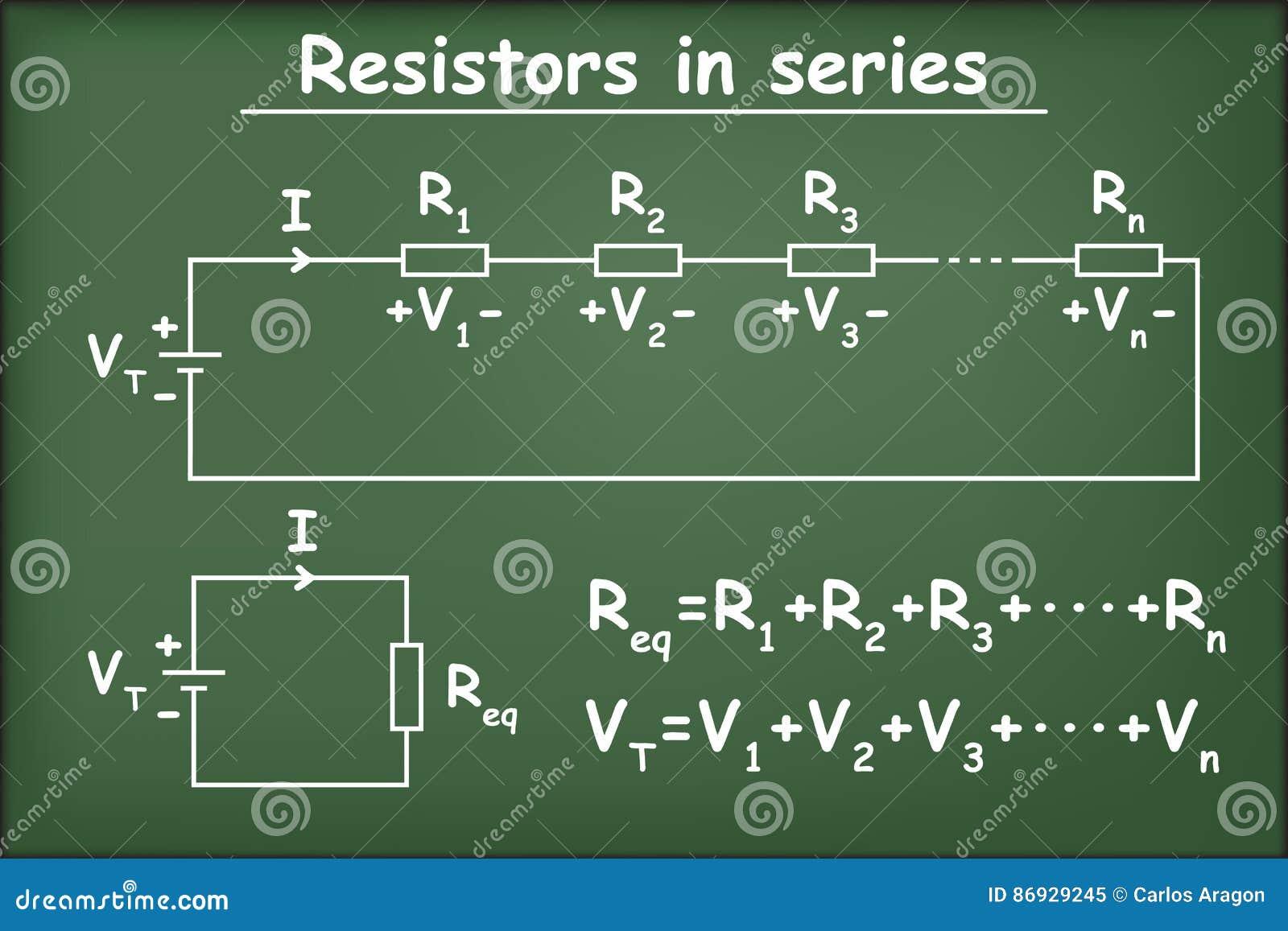 Resistors In Series On Green Chalkboard Stock Illustration