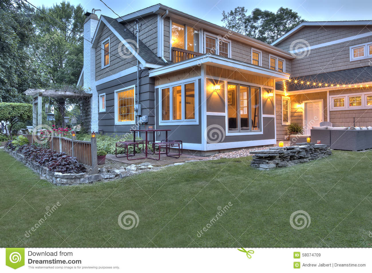 Resored Cape Cod Home At Dusk Stock Photo Image 58074709