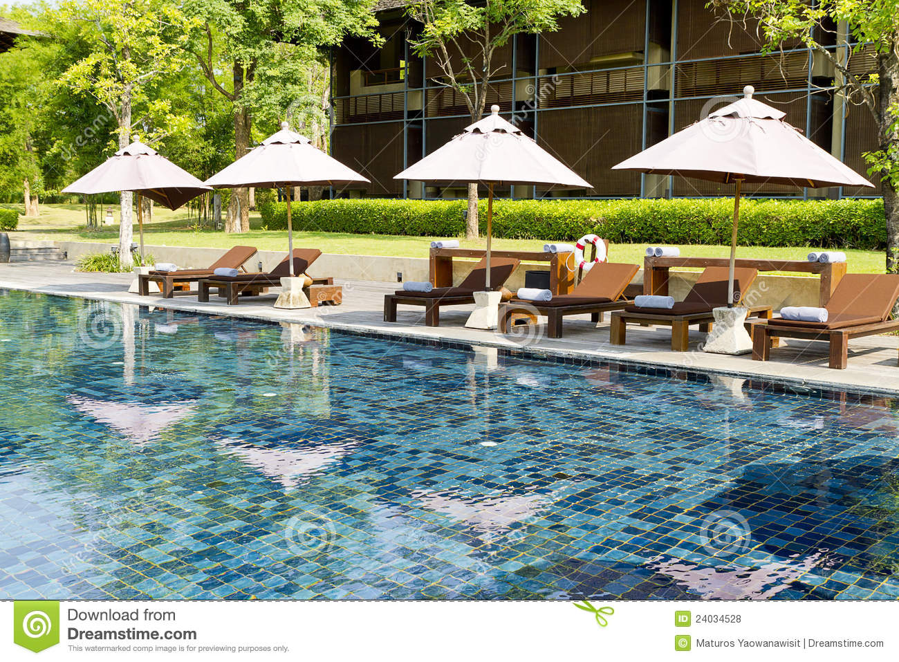 Resort Pool With Beach Chairs And Umbrellas Royalty Free Stock Photos Image 24034528