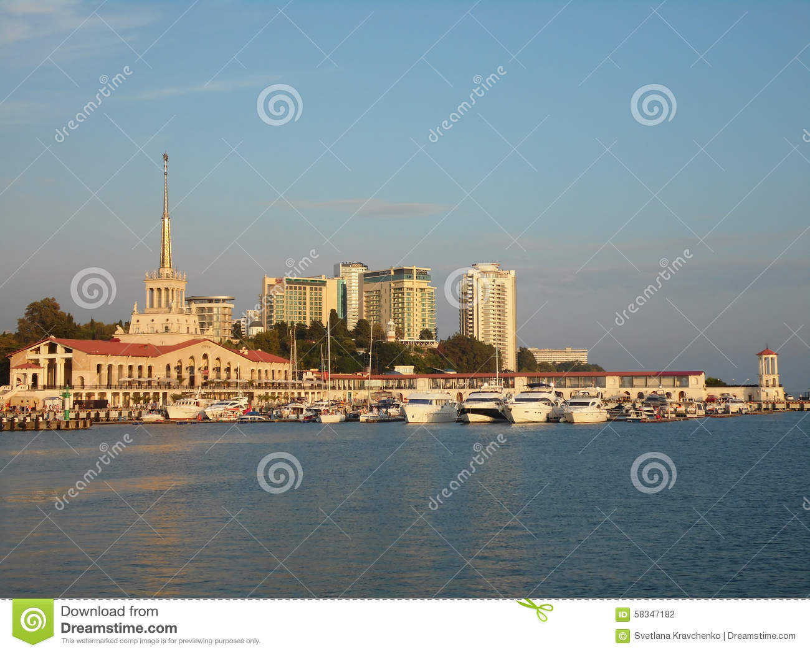 Resort Sochi, Russia, the ships at the marina and the city