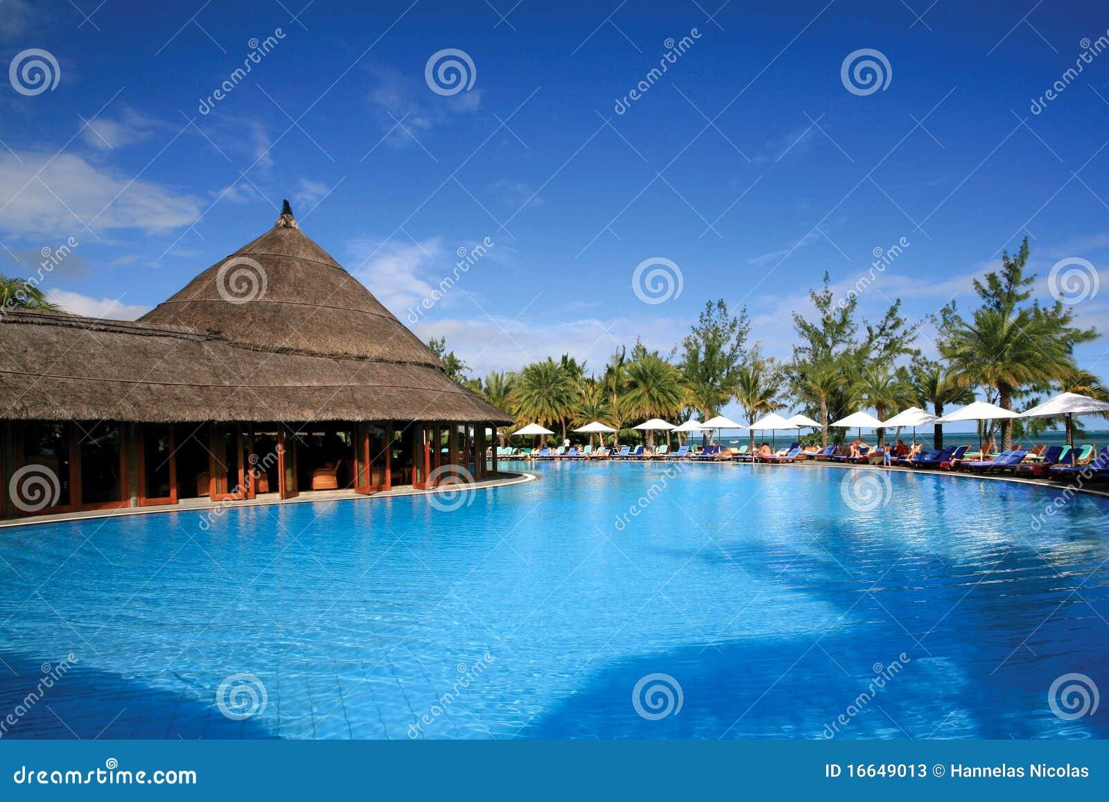 Resort swimming pool in mauritius stock photos image for Swimming pool mauritius