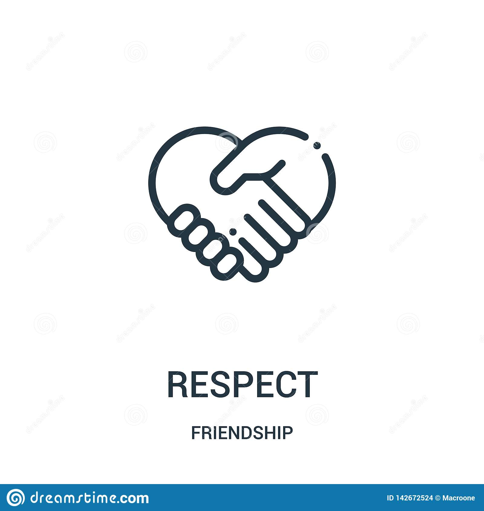 respect icon vector from friendship collection. Thin line respect outline icon vector illustration. Linear symbol for use on web
