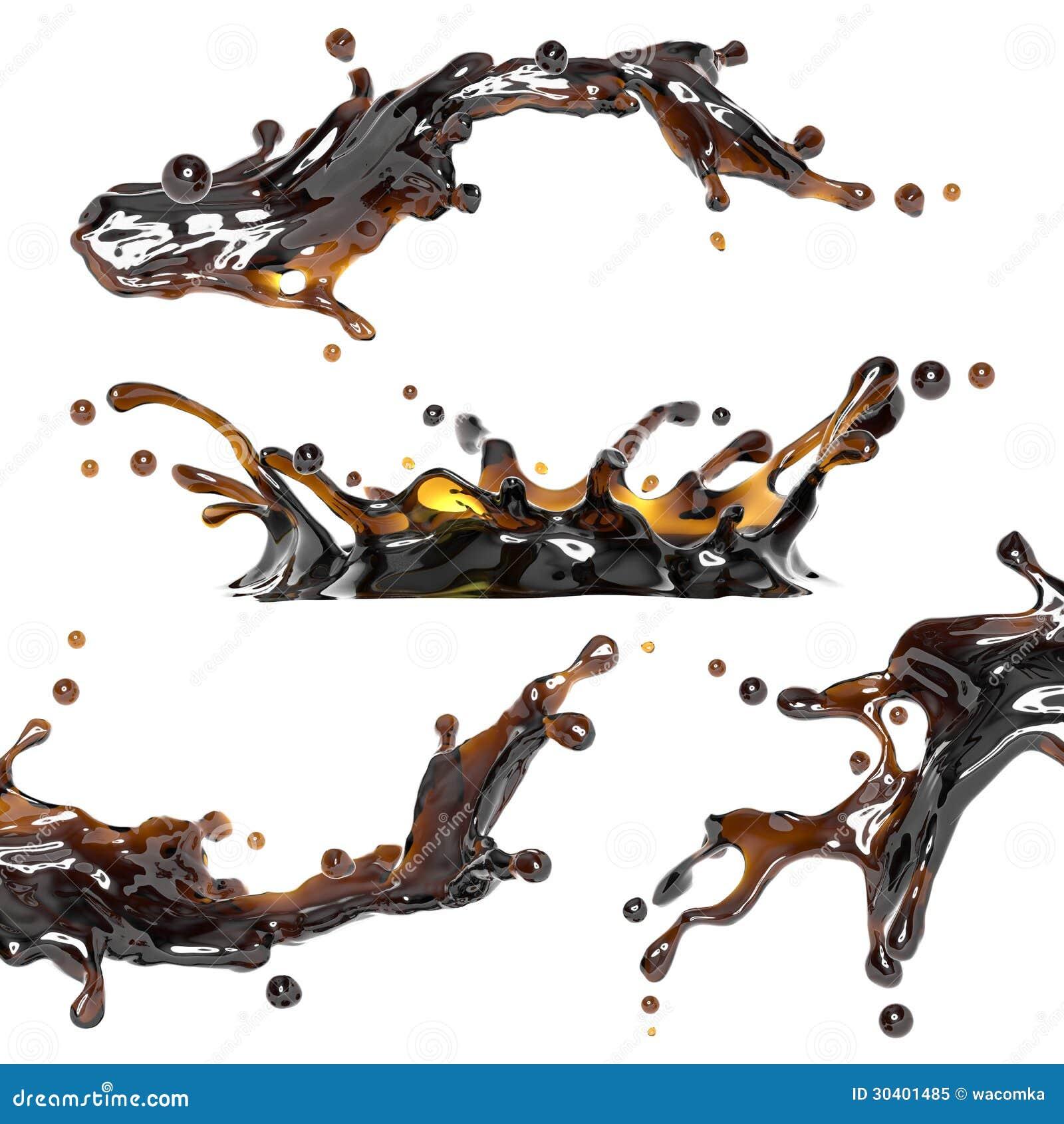 Respingo dinâmico da bebida do chá preto, do café ou do álcool