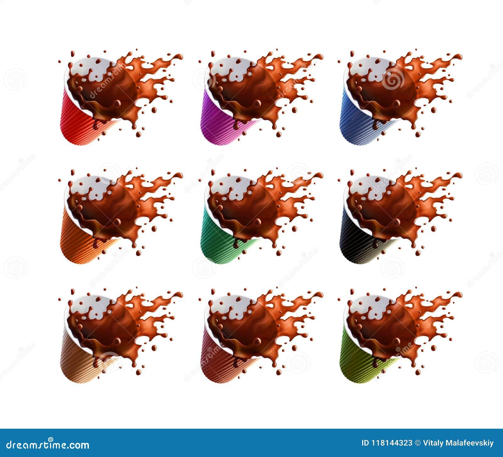 Respingo do café preto em uns copos de uma ondinha do plástico isolados em um fundo branco 9 variações da cor