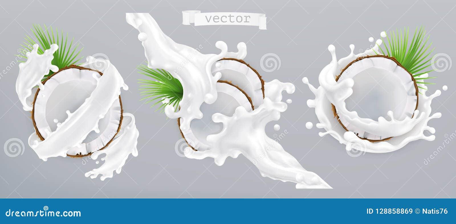 Respingo do coco e do leite ícone do vetor 3d